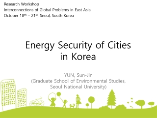 Energy Security of Cities  in Korea