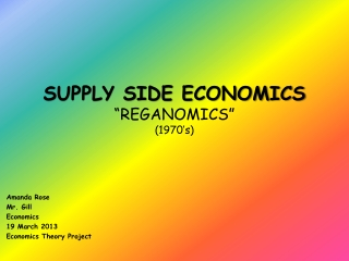 "SUPPLY SIDE ECONOMICS ""REGANOMICS"" (1970's)"