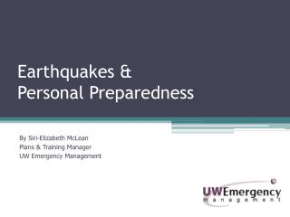 Earthquakes & Personal Preparedness