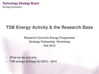 TSB Energy Activity & the Research Base  Research Councils Energy Programme  Strategy Fellowship  Workshop Feb 2013 Wha