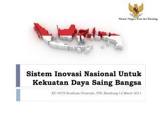 Sistem Inovasi Nasional Untuk Kekuatan Daya Saing Bangsa