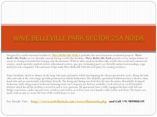 Wave Belleville Park Noida @ 9899888159