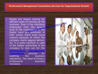 Performance Management Consultancy