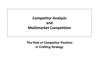 Competitor Analysis and  Multimarket Competition