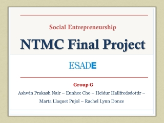 Social Entrepreneurship NTMC Final Project