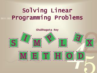 solving linear programming problems shubhagata roy