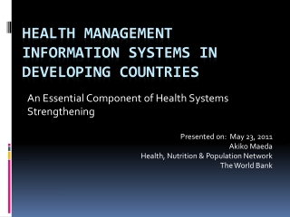 Health Management Information Systems IN DEVELOPING COUNTRIES