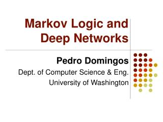 markov logic and deep networks