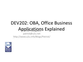 DEV202: OBA, Office Business Applications Explained