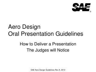 Aero Design Oral Presentation Guidelines