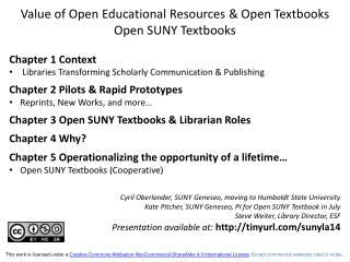 Value of Open Educational Resources & Open  Textbooks Open SUNY Textbooks