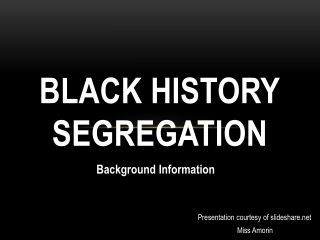 Black History Segregation