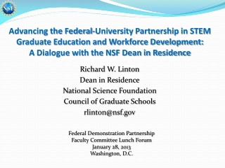 Advancing the Federal-University Partnership in STEM Graduate Education and Workforce Development: A Dialogue with the