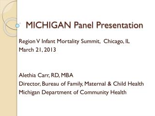 MICHIGAN Panel Presentation