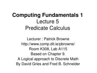 computing fundamentals 1 lecture 5 predicate calculus