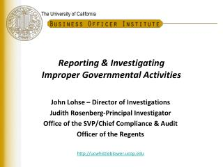 Reporting & Investigating  Improper Governmental Activities