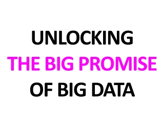 UNLOCKING THE BIG PROMISE OF BIG DATA