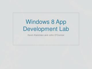 Windows 8 App Development Lab