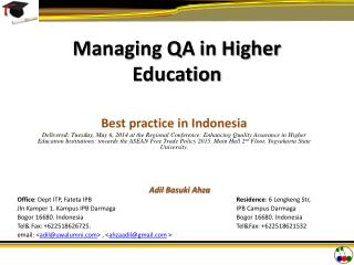 Managing QA in Higher Education