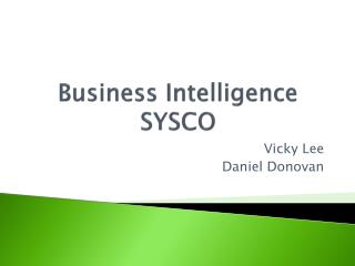 Business Intelligence  SYSCO