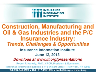 Construction, Manufacturing and Oil & Gas Industries and the P/C Insurance Industry: Trends, Challenges & Opportunities