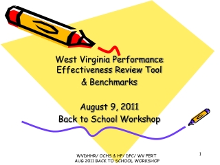West Virginia Performance Effectiveness Review Tool & Benchmarks August 9, 2011 Back to School Workshop