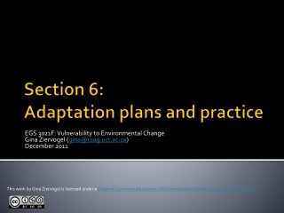 Section 6: Adaptation plans and practice