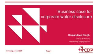 Business case for corporate water disclosure