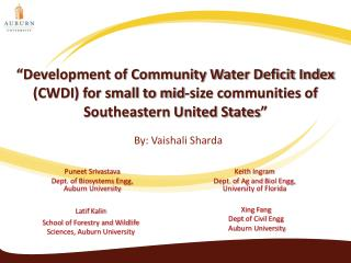 """Development of Community Water Deficit Index (CWDI) for small to mid-size communities of Southeastern United States"""