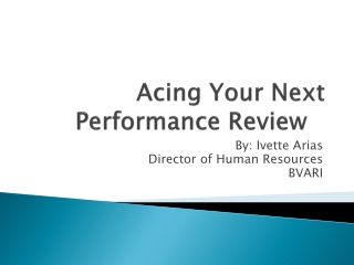 Acing Your Next Performance Review