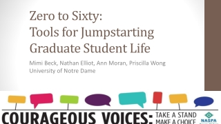 Zero to  Sixty: Tools  for  Jumpstarting Graduate  Student Life
