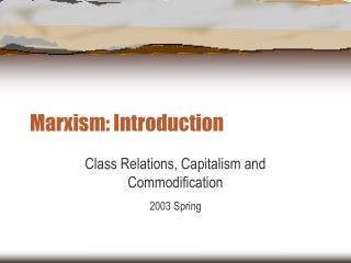 marxism: introduction