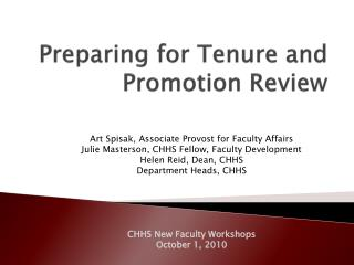 Preparing for Tenure and Promotion Review