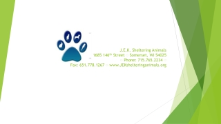 J.E.K. Sheltering  Animals 1685  146 th  Street ◌ Somerset, WI  54025 ◌ Phone: 715.765.2234 ◌    Fax : 651.778.1267 ◌ w
