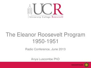The  Eleanor  Roosevelt Program 1950-1951