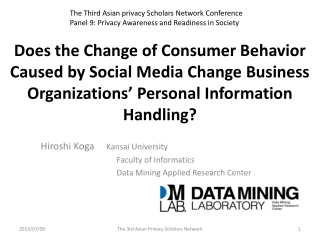 Does the Change of Consumer Behavior Caused by Social Media Change Business Organizations' Personal Information Handlin