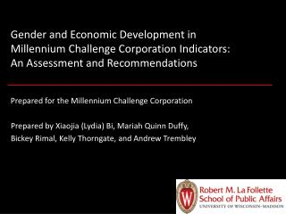 Gender and Economic Development in  Millennium Challenge Corporation Indicators:  An Assessment and Recommendations