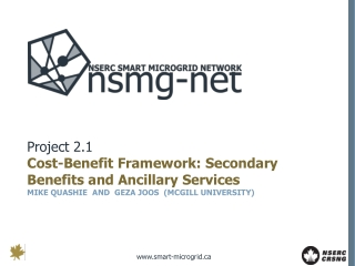 Project 2.1 Cost-Benefit Framework: Secondary Benefits and Ancillary Services MIKE QUASHIE  AND  GEZA JOOS  (MCGILL UNI