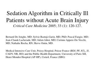 sedation algorithm in critically ill patients without acute brain ...