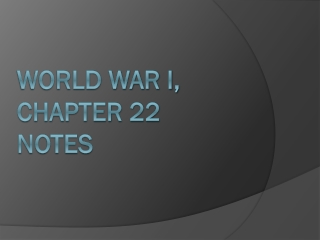 World War I, Chapter 22 Notes
