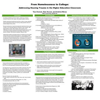 From Homelessness to College:  Addressing Housing Trauma in the Higher Education Classroom   Tara  Overzat , Stan Hoove