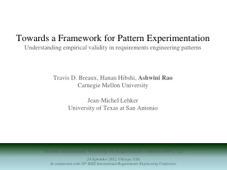 Second International Workshop on Requirements Patterns (RePa'12) 24 September 2012, Chicago, USA