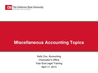 Miscellaneous Accounting Topics