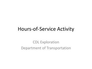 Hours-of-Service Activity