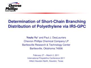 Determination of Short-Chain Branching Distribution of Polyethylene via IR5-GPC