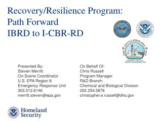 Recovery/Resilience Program:   Path Forward IBRD to I-CBR-RD