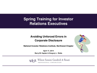 Spring Training for Investor  Relations  Executives
