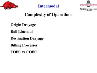 Origin Drayage Rail Linehaul Destination Drayage Billing Processes TOFC vs COFC