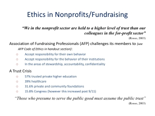 Ethics in Nonprofits/Fundraising