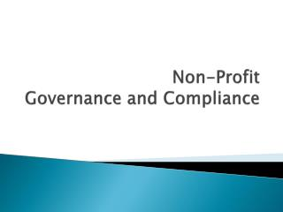 Non-Profit Governance and Compliance